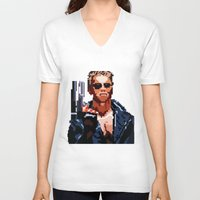 terminator V-neck T-shirts featuring Terminator Pixelated by Escobarr