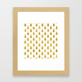 gold raindrops Framed Art Print
