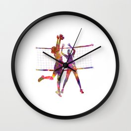 Women volleyball players in watercolor Wall Clock