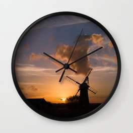 Sunset on the Norfolk Broads Wall Clock