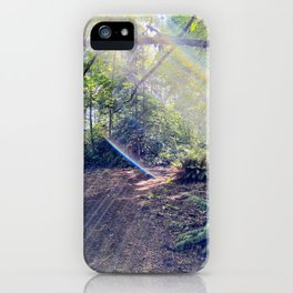 Solar Flare Shines Across Forest Sky at Point Defiance Tacoma WA iPhone Case