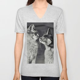 Cute cats who are curious about each other! Unisex V-Neck