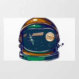 Astronaut Helmet - Satellite and the Moon Rug