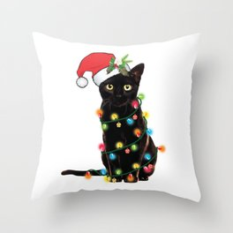 Santa Black Cat Tangled Up In Lights Christmas Santa T-Shirt Throw Pillow