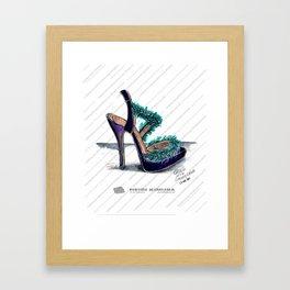 Fluffy feather purple heels Framed Art Print