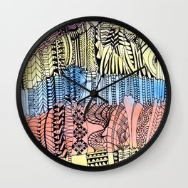 Buildings in black doodle over watercolor Wall Clock