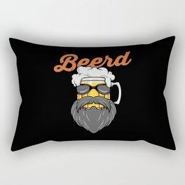 Beer And Beard Wordplay - Hipster Beer Mug Rectangular Pillow