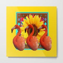 YELLOW BROWN SUNFLOWERS ART DECO 3 SAFFRON FLAMINGOS ART Metal Print