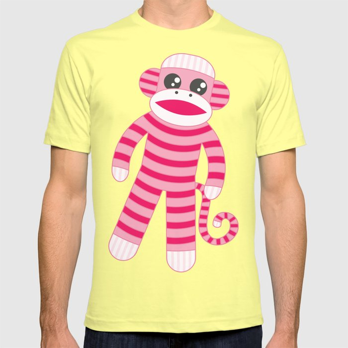 Pink Polka Dot Sock Monkey T-shirt by studiometzger | Society6