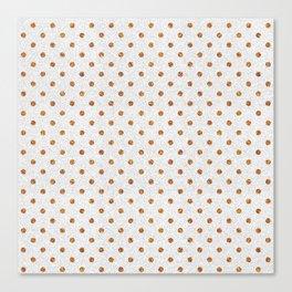 Elegant white modern faux gold glitter polka dots Canvas Print