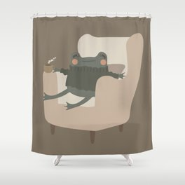 Frog Cozy Evening Tea | Jeni the Frog Shower Curtain