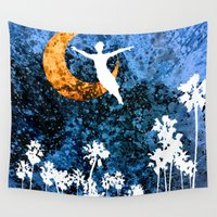 neverland Wall Tapestries featuring Peter Pan flying through Neverland by Chien-Yu Peng