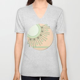 Fine dining in green and peach Unisex V-Neck