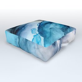 White Sand Blue Sea - Alcohol Ink Painting Outdoor Floor Cushion