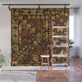 Ethnic African Pattern- browns and golds #12 Wall Mural