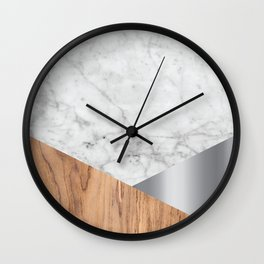 White Marble Wood & Silver #157 Wall Clock