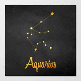 Aquarius Constellation Gold Canvas Print