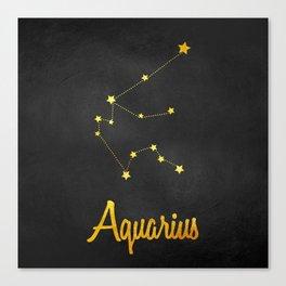 Aquarius Constellation Gold Canvas Print