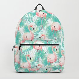 Flamingos, Palm leaves, Tropical, Minimal, Pattern, Modern art Backpack