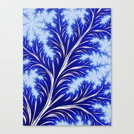 Abstract Blue Christmas Tree Branch with White Snowflakes Canvas Print