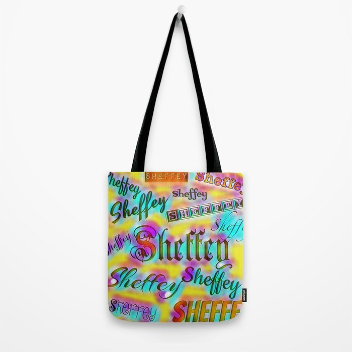 Sheffey Fonts - Yellow and Pink Rainbow 9642 Tote Bag