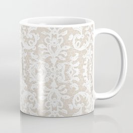 Imperial French Lace Beige White Pastel Coffee Mug