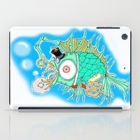 steam punk iPad Cases featuring Whimsical Steam Punk Fish by J&C Creations