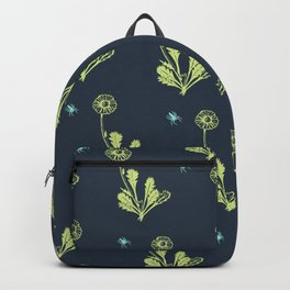 Spider Daisies (green + navy) Backpack