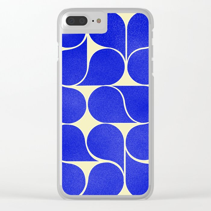Blue mid-century shapes no8 Clear iPhone Case