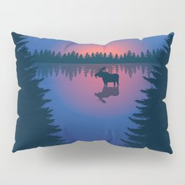 Moose in a Lake, Summer Forest Pillow Sham