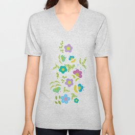 Round Blue Purple Mint Flowers On Soft Green Leaves (pattern) Unisex V-Neck