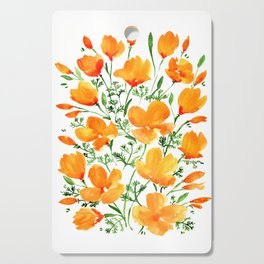 Watercolor California poppies Cutting Board