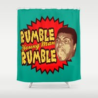ali gulec Shower Curtains featuring Rumble Young Man Rumble  |  Ali by Silvio Ledbetter