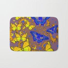 Decorative Blue & Yellow Butterfly Patterns Bath Mat