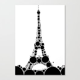 """Eiffel Tower White Background - from """"Further Back"""" series Canvas Print"""
