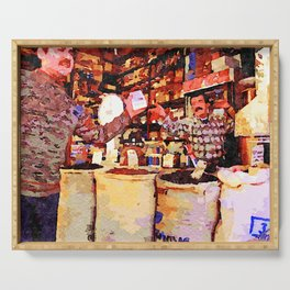 Aleppo: buyer and seller in the grocery store Serving Tray