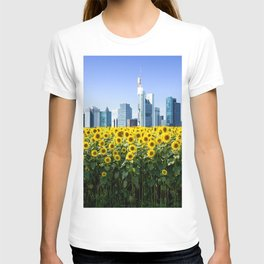 Frankfurt Germany Skyline Sunflower Field T-shirt