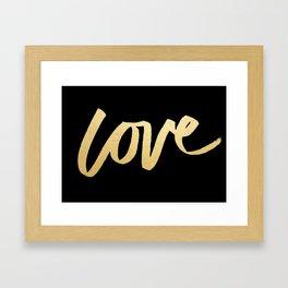 Love Gold Black Type Framed Art Print