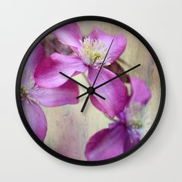 purple clematis  Wall Clock