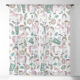 Unicorns and Rainbows, Frappuccino, Donuts, Flowers, Pink Unicorn, Girls Print, Girls' Decor Sheer Curtain