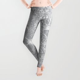 Modern trendy white floral lace hand drawn pattern on harbor mist grey Leggings