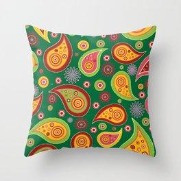 Oriental Persian Paisley - Green Yellow Red Throw Pillow