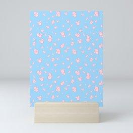 pink bubbles on blue Mini Art Print