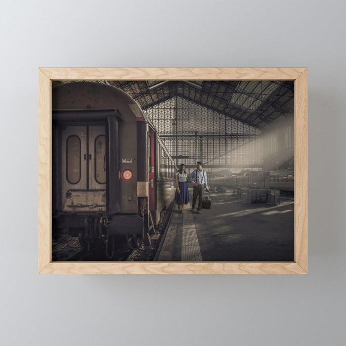 Couple in a Train Station Framed Mini Art Print