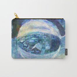 Snowy Town of Burlington, VT in a Globe - Impressionist Painting Carry-All Pouch
