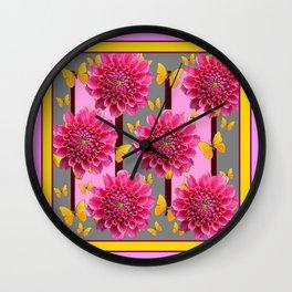 PINK DAHLIAS YELLOW BUTTERFLIES GREY ART Wall Clock
