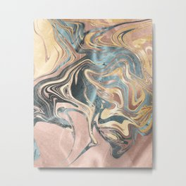 Liquid Gold and Rose Gold Marble Metal Print