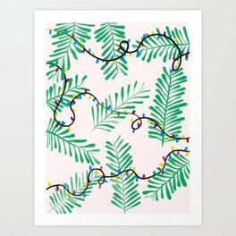 Leafy Holiday Lights Art Print