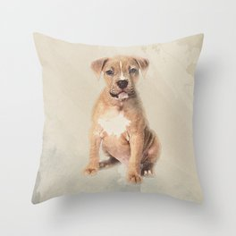American staffordshire terrier puppy Sketch Paint Throw Pillow