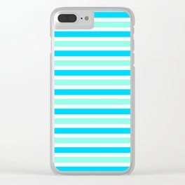 Cyan and Turquoise Stripes Clear iPhone Case